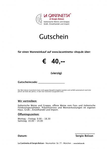 La Cantinetta Gutschein € 40,- | Die Geschenkidee
