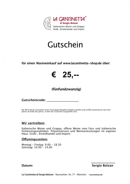 La Cantinetta Gutschein € 25,- | Die Geschenkidee