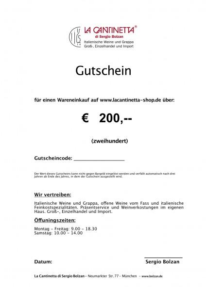 La Cantinetta Gutschein € 200,- | Die Geschenkidee