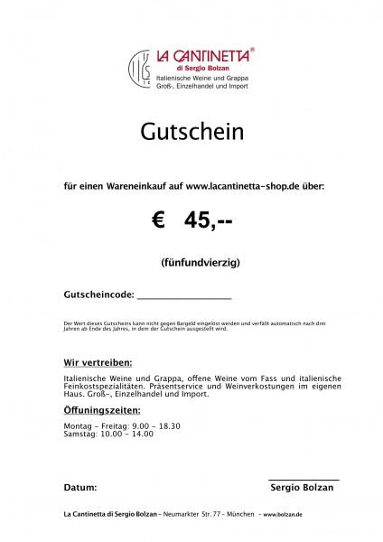 La Cantinetta Gutschein € 45,- | Die Geschenkidee